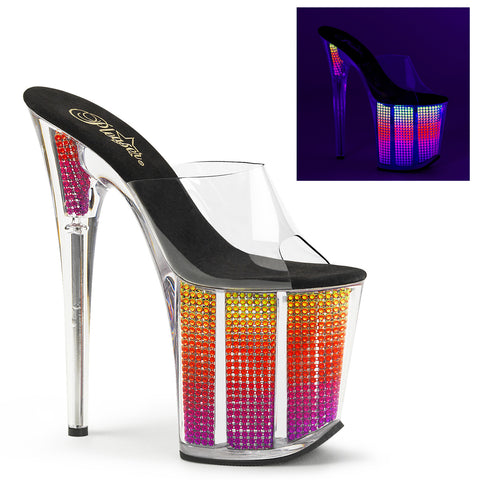 FLAMINGO-801SRS Pleaser Sexy 8 Inch Neon Rhinestone Bling Platform Heel Slip on Shoes