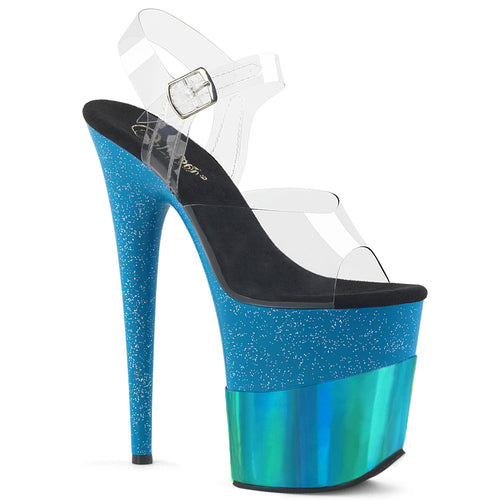FLAMINGO-808-2HGM 8 Inch Heel Turquoise Glitter Sexy Shoes