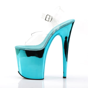 FLAMINGO-808 Pleaser Sexy Shoes 8 Inch Heel Turquoise Ankle Strap Platform Sandals