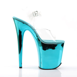 FLAMINGO-808 Pleaser Sexy Shoes 8 Inch Heel Turquoise Pole Dancing Ankle Strap Platform Sandals
