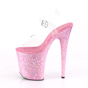 FLAMINGO-808CF Pleaser Clear/Pink Confetti Platforms (Exotic Dancing)