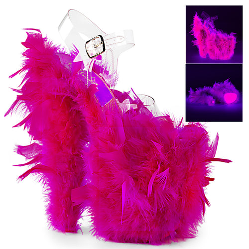 FLAMINGO-808F Sexy Neon Pink Marabou Feather Strippers Shoes