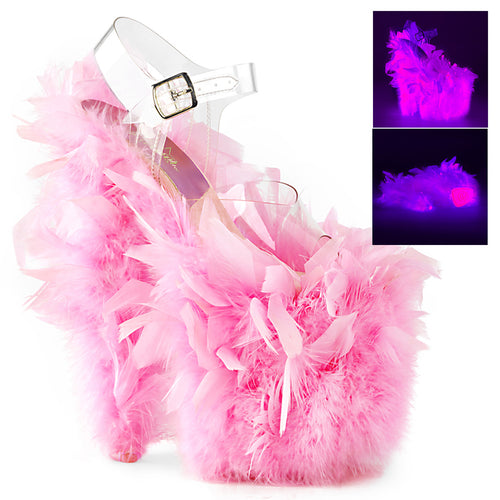 FLAMINGO-808F Pleaser Sexy Shoes 8 Inch Heel  Marabou Feather Platform Sandals w Ankle Straps