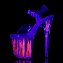 "Load image into Gallery viewer, FLAMINGO-808FLM 8"" Clear and Hot Pink Pole Dancer Platforms-Pleaser- Sexy Shoes Pole Dance Heels"
