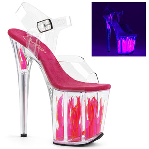 "FLAMINGO-808FLM 8"" Clear and Hot Pink Pole Dancer Platforms-Pleaser- Sexy Shoes"