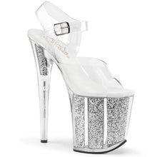 "Load image into Gallery viewer, FLAMINGO-808G 8"" Heel Clear Silver Glitter Strippers Shoes"