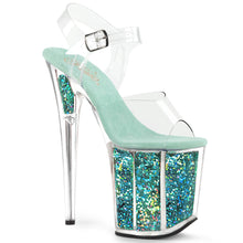 "Load image into Gallery viewer, FLAMINGO-808GF 8"" Heel Clear Turquoise Glitter SexyShoes-Pleaser-Miss Hollywood Sexy Shoes"