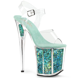 "FLAMINGO-808GF 8"" Heel Clear Turquoise Glitter SexyShoes-Pleaser-Miss Hollywood Sexy Shoes"
