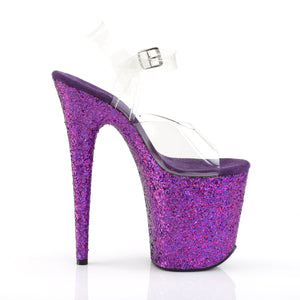 FLAMINGO-808LG Heels Clear Purple Holo Glitter Stripper Shoe