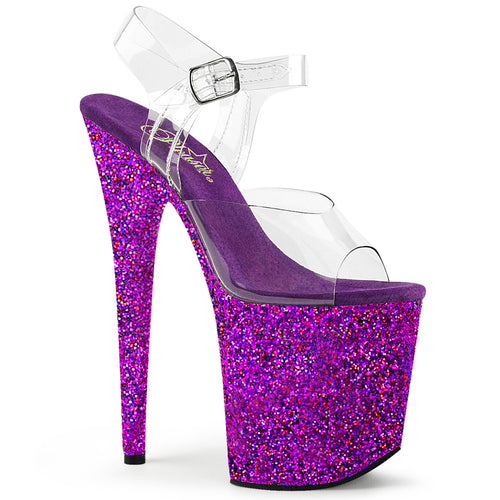 FLAMINGO-808LG Heels Clear Purple Holo Glitter Stripper Shoe-Pleaser-Miss Hollywood Sexy Shoes