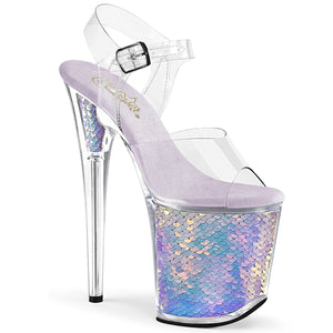 "FLAMINGO-808MC 8"" Heel Clear Lavender Holo Strippers Shoes"