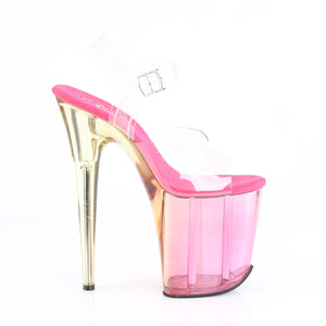 FLAMINGO-808MCT 8 Inch Heel ClearPink Tinted Strippers Shoes-Pleaser- Sexy Shoes Fetish Heels