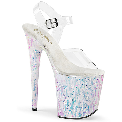FLAMINGO-808SPLA-2 Sexy Shoes Clear White-Opal Hologram