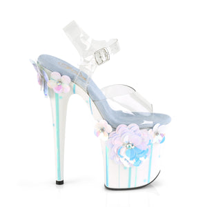 "FLAMINGO-808SQFL 8"" Heel Clear Light Blue Strippers Shoes"