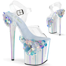 "Load image into Gallery viewer, FLAMINGO-808SQFL 8"" Heel Clear Light Blue Strippers Shoes"