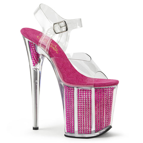 FLAMINGO-808SRS Pleaser Sexy Shoes 8 Inch Heel Ankle Strap Rhinestone Bling Platform Sandals