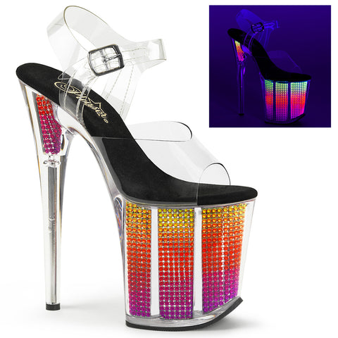 FLAMINGO-808SRS Pleaser Sexy Shoes 8 Inch Heel Ankle Strap Neon UV Rhinestone Bling Platform Sandals
