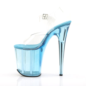"FLAMINGO-808T Pleaser 8"" Heel Clear Light Blue Tinted Shoes"
