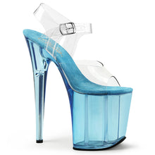 "Load image into Gallery viewer, FLAMINGO-808T Pleaser 8"" Heel Clear Light Blue Tinted Shoes"