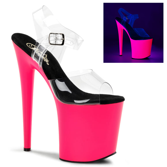 FLAMINGO-808UV Pleaser Sexy Shoes Neon Strippers Ankle Strap Sandals