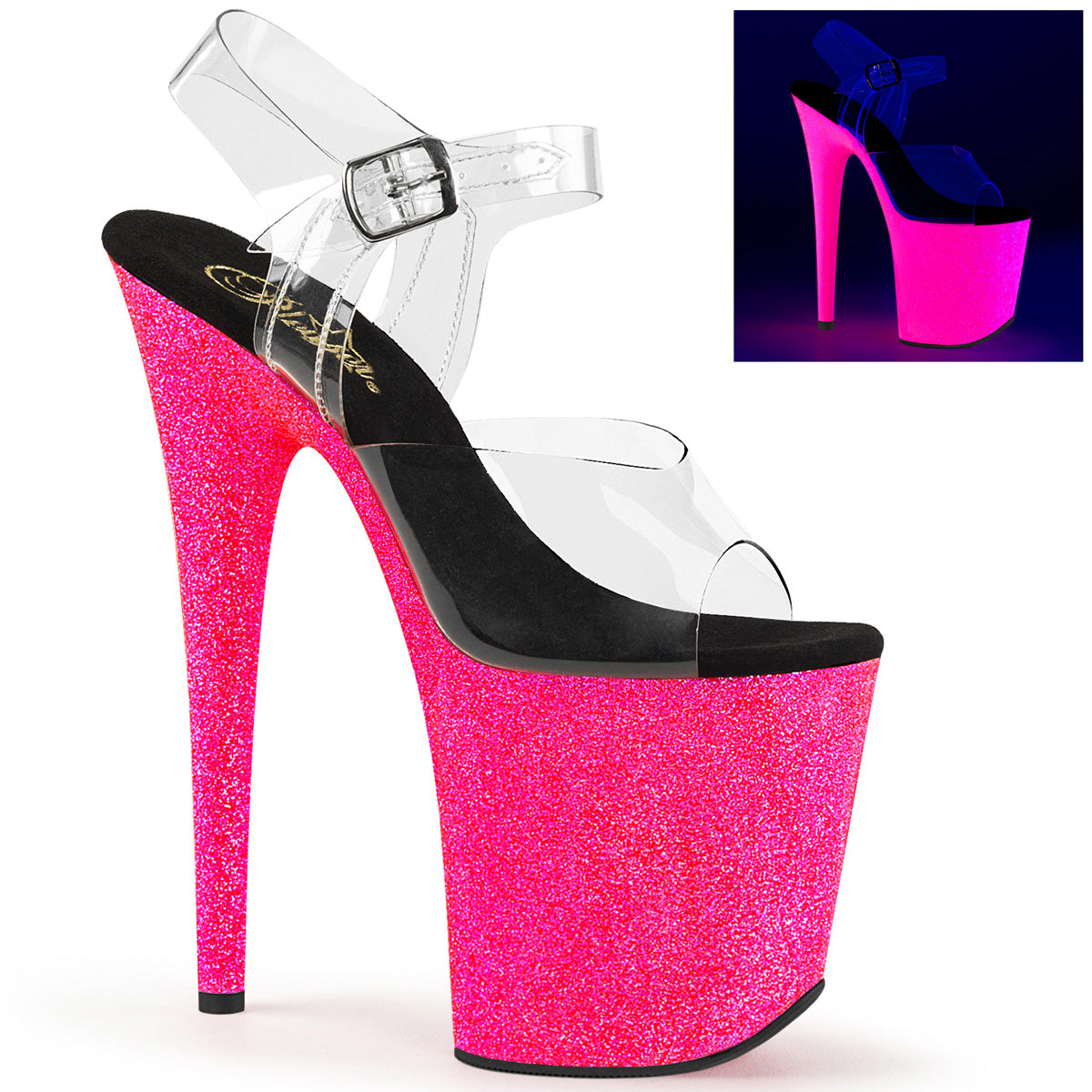 6dfed5897f Sexy FLAMINGO-808UVG Pleaser Sexy Shoes Neon Glitter Strippers Ankle Strap  Sandals Pleaser - Miss ...