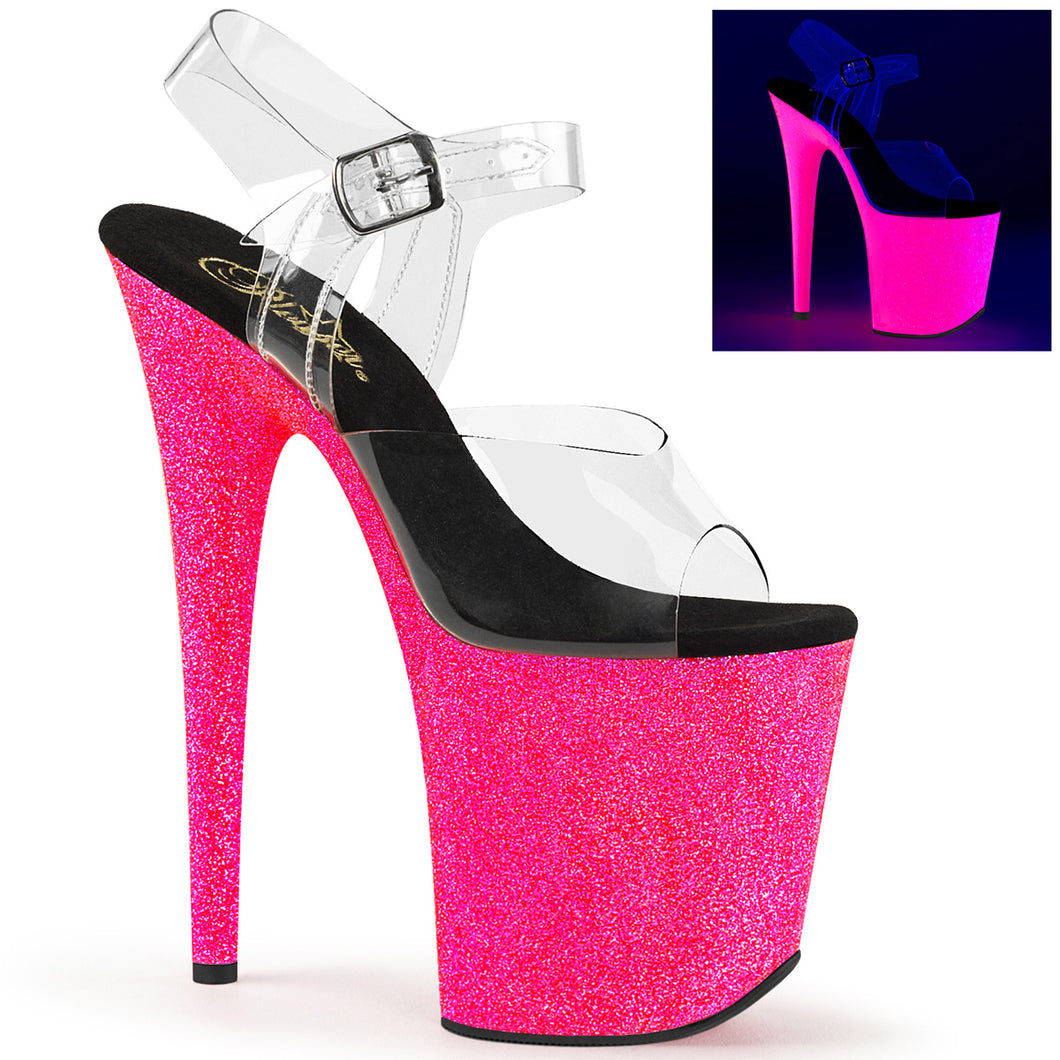 Sexy FLAMINGO-808UVG Pleaser Sexy Shoes Neon Glitter Strippers Ankle Strap Sandals  Pleaser - Miss Hollywood - Sexy Shoes