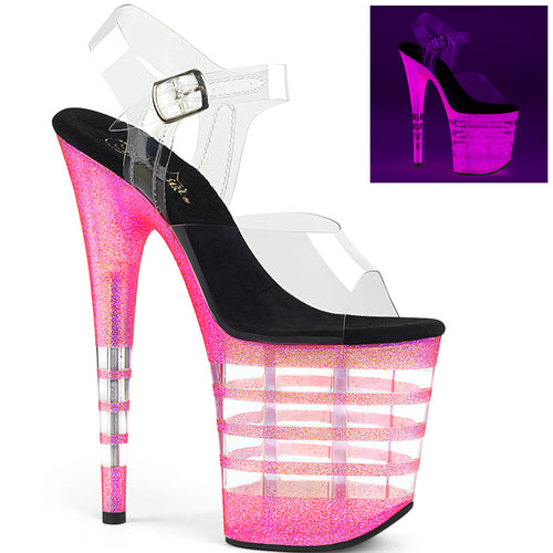Sexy FLAMINGO-808UVLN Pleaser Sexy Shoes Neon Uv Glitter Stripe Strippers Ankle Strap Sandals  Pleaser