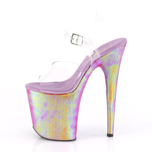 "FLAMINGO-808WR Pleaser 8"" Heel Clear Purple Hologram Shoes"