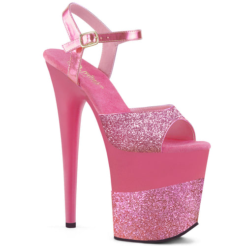 FLAMINGO-809-2G Pleaser Sexy Shoes 8 Inch Heel Ankle Strap Sandals Pink