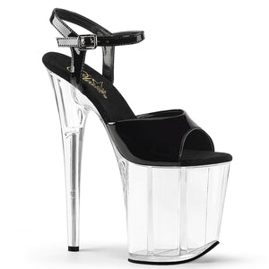 "FLAMINGO-809 8"" Heel Black and Clear Pole Dancing Platforms"