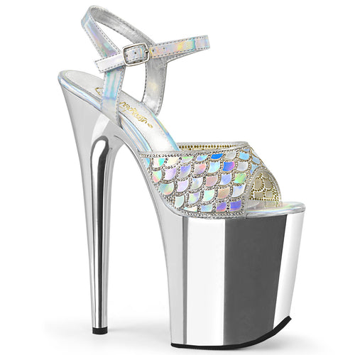 Sexy FLAMINGO-809MMRS Pleaser Sexy Shoes 8 Inch Heel Ankle Strap Holograic Mermaid Chrome Platform Sandals  Pleaser