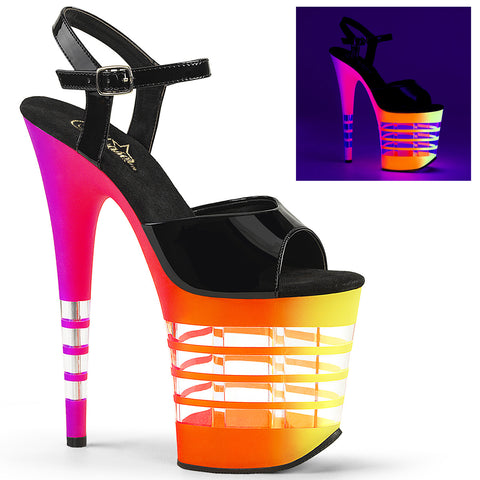 FLAMINGO-809UVLN Pleaser Sexy Shoes 8 Inch Heel Ankle Strap Neon UV Line Platform Sandals