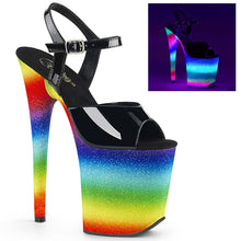 "Load image into Gallery viewer, FLAMINGO-809WR Pleaser 8"" Heel Black Rainbow Glitter Shoes"