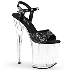 "FLAMINGO-810 8"" Heel Black Glitter Pole Dancing Platforms"