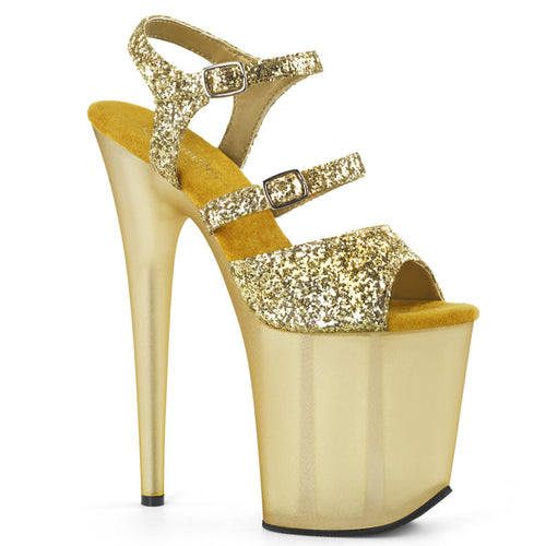 FLAMINGO-874 Gold Pole dancing High Heel Shoes with Frosted Platforms