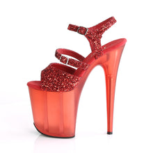 "Load image into Gallery viewer, FLAMINGO-874 8"" Heel Red Glitter Pole Dancing Platforms"