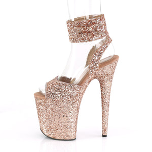"FLAMINGO-891LG 8"" Heel Rose Gold Glitter Pole Dancer Shoes"