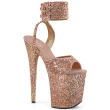 "Load image into Gallery viewer, FLAMINGO-891LG 8"" Heel Rose Gold Glitter Pole Dancer Shoes"