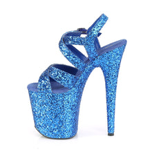 Load image into Gallery viewer, FLAMINGO-897LG Pleaser Platforms (Exotic Dancing) - Sexy Royal Blue Glitter/Royal Blue Glitter Fetish Footwear-Pleaser-Miss Hollywood Sexy Shoes Pleaser Shoes