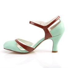 Load image into Gallery viewer, FLAPPER-27 Pin Up 3 Inch Heel Mint-Brown Fetish Footwear