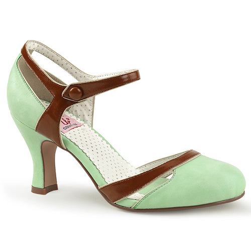 FLAPPER-27 Pin Up 3 Inch Heel Mint-Brown Fetish Footwear