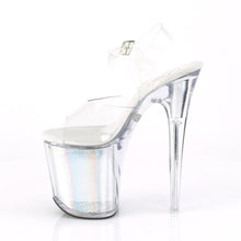 "Load image into Gallery viewer, FLASHDANCE-808CH 8"" Heel Clear Silver Hologram Sexy Shoes"