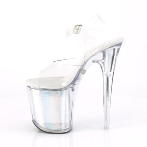 "FLASHDANCE-808CH 8"" Heel Clear Silver Hologram Sexy Shoes"