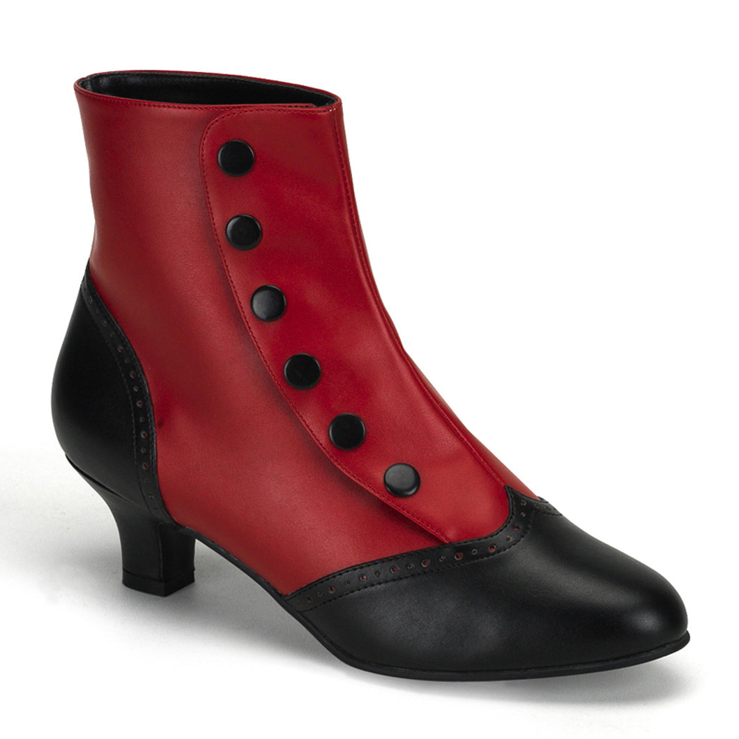 FLORA-1023 Bordello Kinky Boots 2 Inch Heel Button Spat Ankle Boots-Boots-Bordello-7 uk (40 Europe - 10 Usa)-Red-Black Pu-Miss Hollywood Sexy Shoes