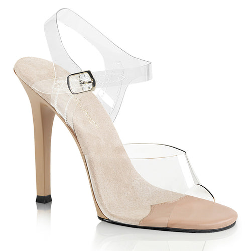 GALA-08 Fabulicious 4.5 Inch Heel Clear and Taupe Sexy Shoes