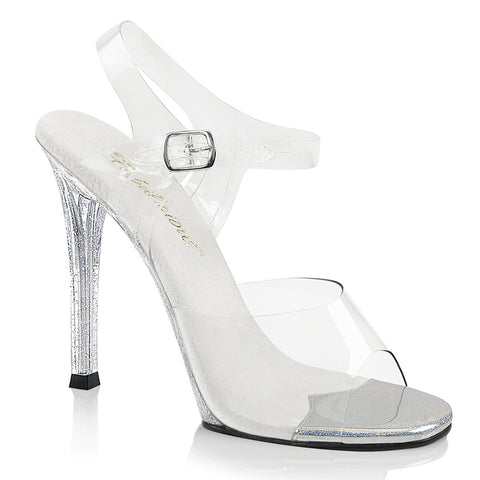 GALA-08MG Fabulicious Sexy Shoes 4 1/2 Inch Heel Clear Posing Glitter Sandals