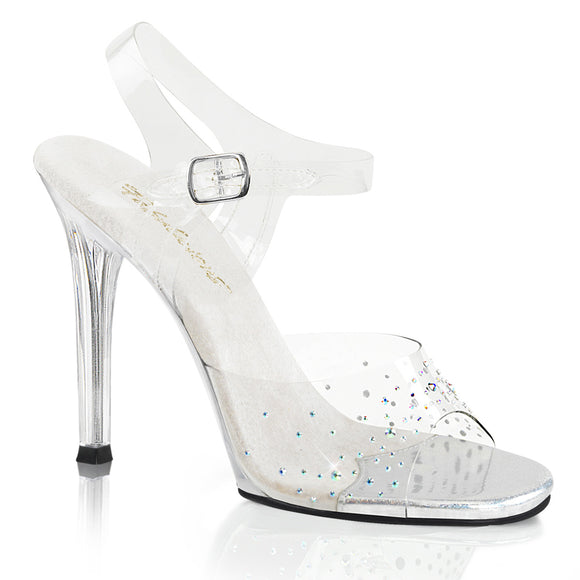 GALA-08SD Fabulicious Sexy Shoes 4 1/2 Inch Heel Clear Rhinestone Ankle Strap Posing Sandals