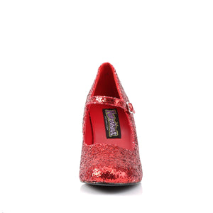 GLINDA-50G Funtasma Sexy Shoes 3 Inch Heel, Red Glittre Mary Jane Shoe, Glitter