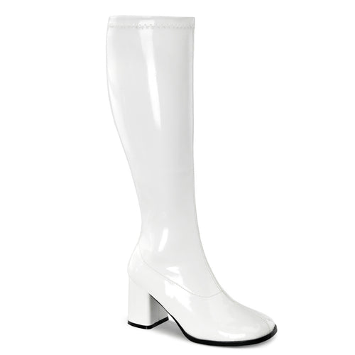 GOGO-300WC Funtasma Sexy Shoes 3 Inch Block Heel Wide Width,Plus Size ST Boots,Side Zip-Plus Sizes & Wide Width/Shaft-Funtasma-7 uk (40 Europe - 10 Usa)-White Str Patent-Miss Hollywood Sexy Shoes