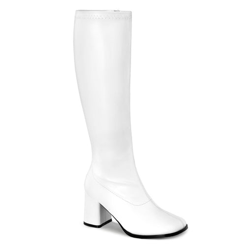 GOGO-300WC Funtasma Sexy Shoes 3 Inch Block Heel Wide Width,Plus Size ST Boots,Side Zip-Plus Sizes & Wide Width/Shaft-Funtasma-Footwear Fetish-White Str Patent-Miss Hollywood Sexy Shoes